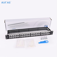 AUCAS 48 Port Network Tool Kit shield Patch Panel Frame Networking Wall Mount Rack Mount Bracket cable manager bar&front panel