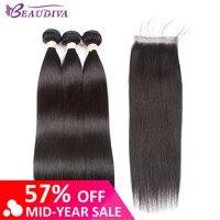 Beaudiva наращивание волос 100% человеческие волосы пучки с бразильские волосы с закрытием плетение 3 пучка прямые пучки с закрытием кружева