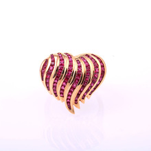 Robira 2017 18K Rose Gold Ring For Women 100% Natural Burmese Ruby Fashion Jewelry Red Heart Shape Finger Rings