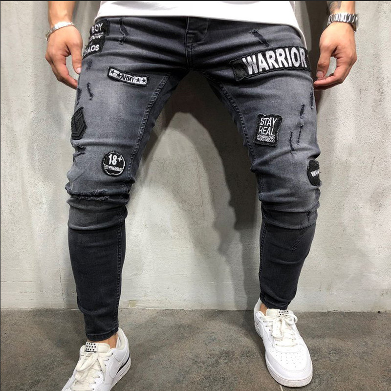 NEW fashion 2019 Autumn Winter Men's hole Embroidery   Jeans   Gray Hip-hop Slim Men   Jeans   Men's Tight-Fitting Denim   Jeans   Homme