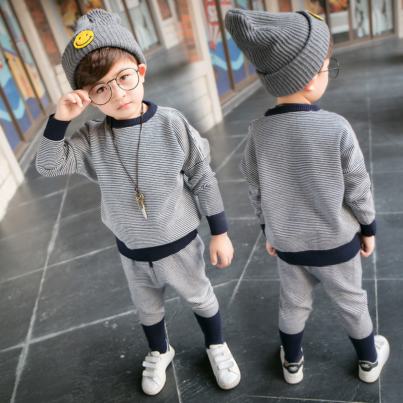 New 2017 Autumn Winter Girls Sweater Clothing Set Children Knitted Harem Pants Outerwear Baby Boys Clothing Set Kids Tracksuit
