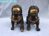 Home Decoration Metal Crafts Lion Sculpture/Art Collection 1 Pair Chinese Old Bronze Gilt Big Fu Foo Dog Statue High 20CM!!!