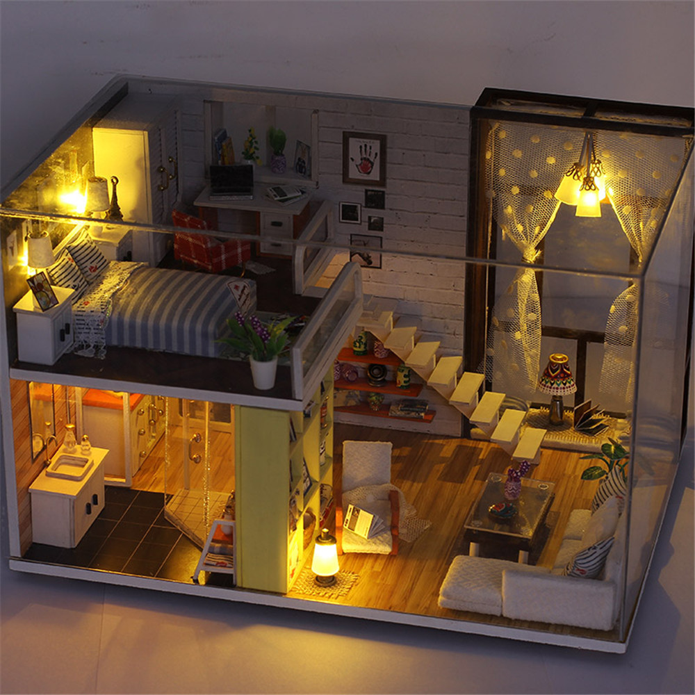 Doll House Assemble Contracted City DIY With Furniture Light Cover Dollhouse Gift Collection Intelligence Children Kids Toys in Doll Houses from Toys Hobbies