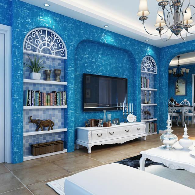 Placeholder Mediterranean Blue Vintage Wallpaper Modern Simple Plain Color Wall Paper Living Room Kids Bedroom Non
