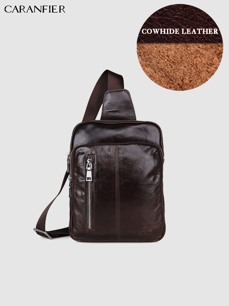 CARANFIER Mens Chest Bags First Layer Genuine Cowhide Leather Bookbag Classic Shoulder Crossbody Bags Large Capacity Travel Bags
