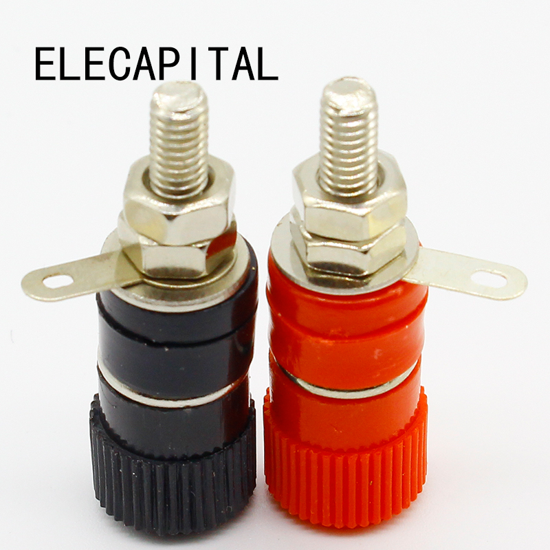 High Quality 1 pair (RED + BLACK) Amplifier Terminal Binding Post Banana Plug Jack Panel mount connector