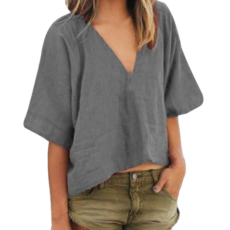 Women <font><b>Sexy</b></font> Deep V Neck Solid <font><b>T</b></font>-shirt Female Half Sleeve Basic Cotton Linen <font><b>T</b></font>-Shirt Summer Casual Tops <font><b>haut</b></font> <font><b>femme</b></font> image