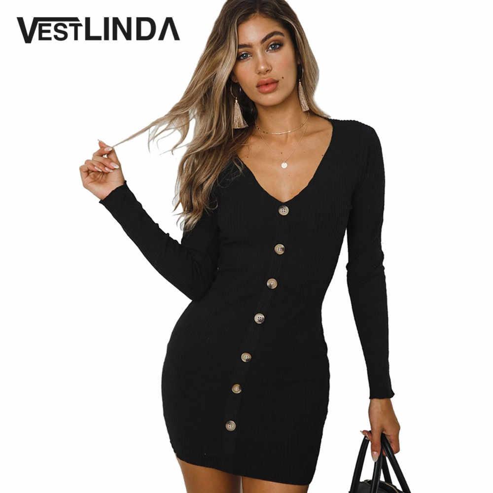 17f41ae71fac5 Detail Feedback Questions about VESTLINDA Bodycon Dress Women Button Up V  Neck Long Sleeve Mini Short Dress Party Sexy Vestido Pencil Sheath Tight  Dress ...