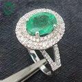 1.36ct 14ct Solid Oro Blanco Natural Esmeralda y Diamante Anillo de Compromiso Joyería, comerciante, 14 k Anillo de Oro