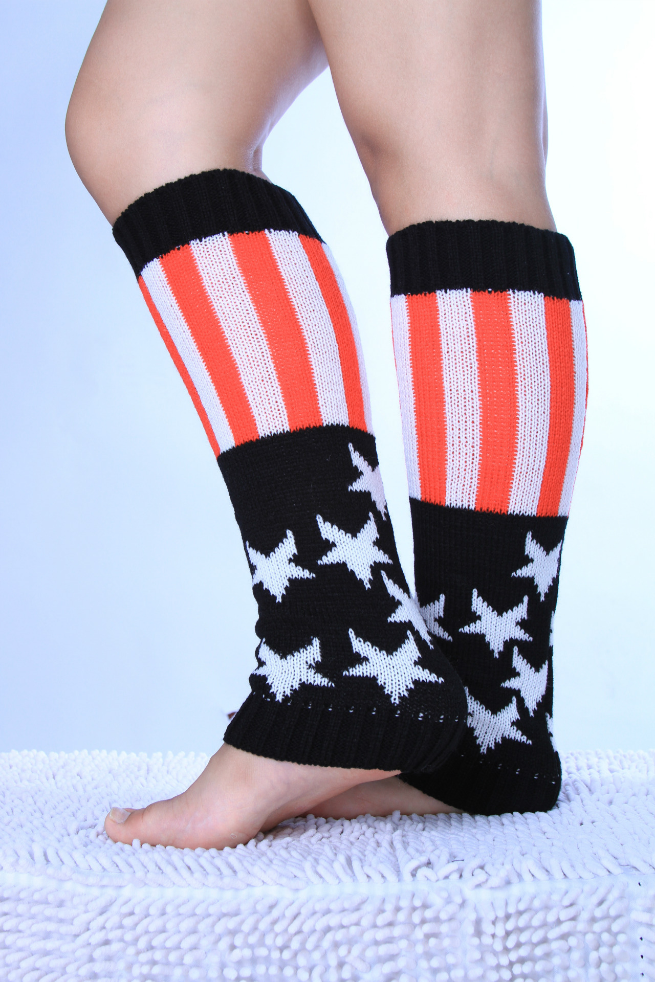 Fashion New Wool Socks Set Men And Women Stars Stripes American Flag Knitted Warm Boots Cover Leggings