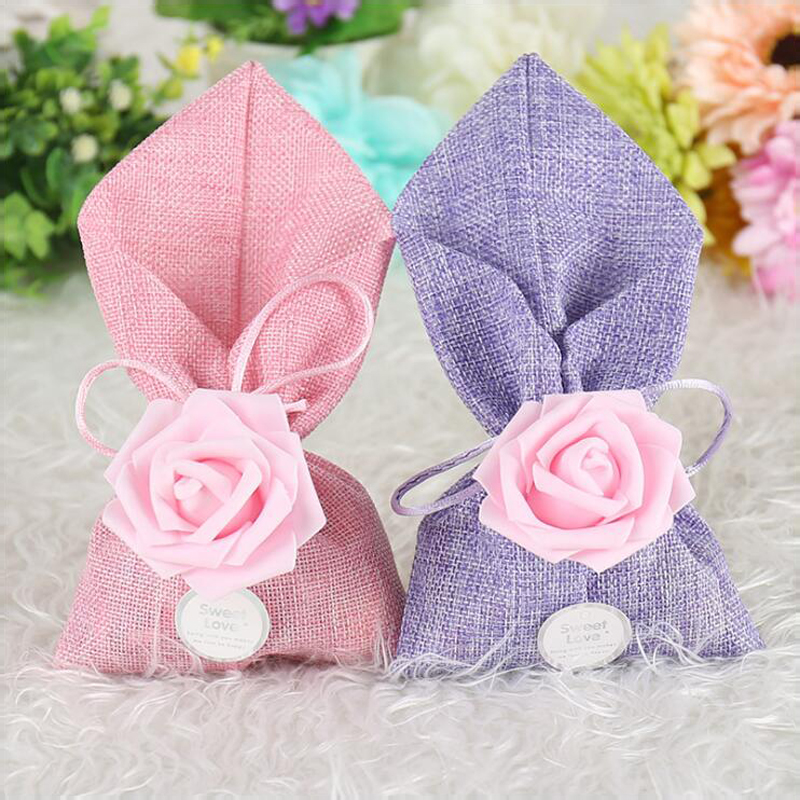 50pcs Handmade Jute Burlap Bag Drawstring Gift Bag Wedding Favor Bags For Wedding Decoration Party Favor Package Free Shipping