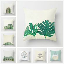 Fuwatacchi Plant Printed Cushion Cover Tree Leaf Cactus Pineapple Pillow for Home Sofa Chair Decorative Pillows 45*45cm