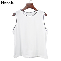 Messic 2018 Basic T Shirt Fashion Ladies Vest Tank Top Solid Comfortable Cotton Women Sleeveless Tops