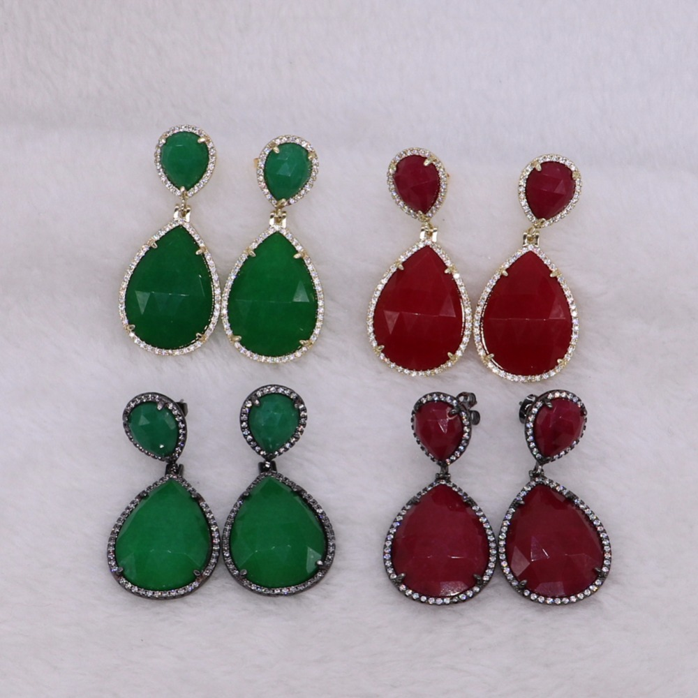 6Pairs Faceted Water drop stones Mix colors drop earrings& metal dangle earring Trendy jewelry for women 2468