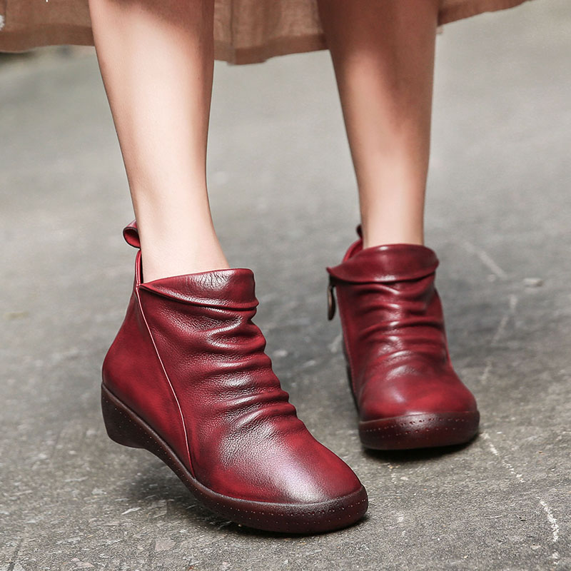 2018 VALLU Handmade Vintage Women Shoes Ankle Boots Pleated Round Toes Genuine Leather Ladies Casual Booties vallu 2018 vintage handmade women shoes platform flat boots round toes pleated genuine leather ankle boots