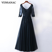 VENSANAC 2018 Sequined V Neck Lace Appliques A Line Long Evening Dresses Party Half Sleeve Pearls Sash Backless Prom Gowns