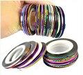2015New ** 200 rolls fluorescente cores Rolls Nail Art Rendas Tiras de Fita De Linha Unhas Postiças Etiqueta da China ** NYB20 (32 cores)