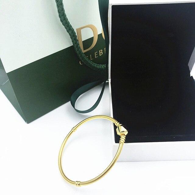 2019 NEW Charm Engraved S925 Silver chain beads pandoras shine bracelet golds man jewelry women gifts,1pz
