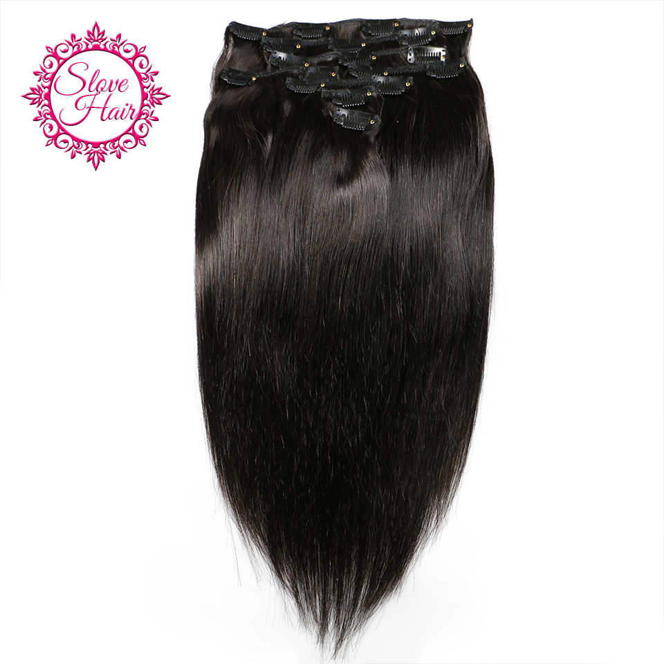 Clip In Full Head Human Hair Extensions Remy Brazilian Straight Human Hair Weave Bundles Clip Ins 2-3 Piece Make Full Head Slove