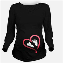 Maternity clothes 2017 New Maternity long sleeve tshirt Casual Maternity Clothing Clothes For Pregnant Women Maternity dress cheap Tops Tees Full O-Neck hengsong Broadcloth Cotton Maternity T Shirt Natural Color Print Regular Long Sleeve Pregnant Tops