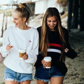 New winter women's fashion wild striped loose round neck chest double knit sweater female loose