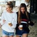 Nuevo invierno de las mujeres de la manera salvaje de rayas loose cuello redondo pecho doble de punto femenino suéter flojo