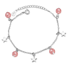 TJP Charm Women Silver 925 Bracelets Jewelry Trendy Crystal Pink Ball Female For Girls Party Accessories Lady Gift Hot