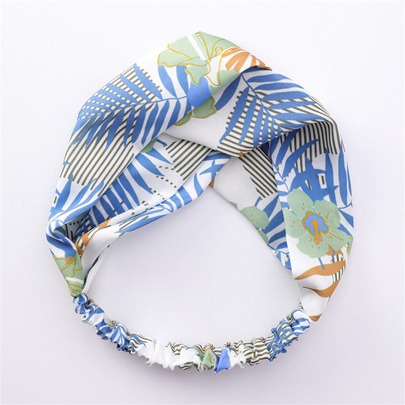 New Summer Flower Print Hairband Beach Holiday Wind Wide Side Casual Cross Hair Band For Women Hair Accessories Headband