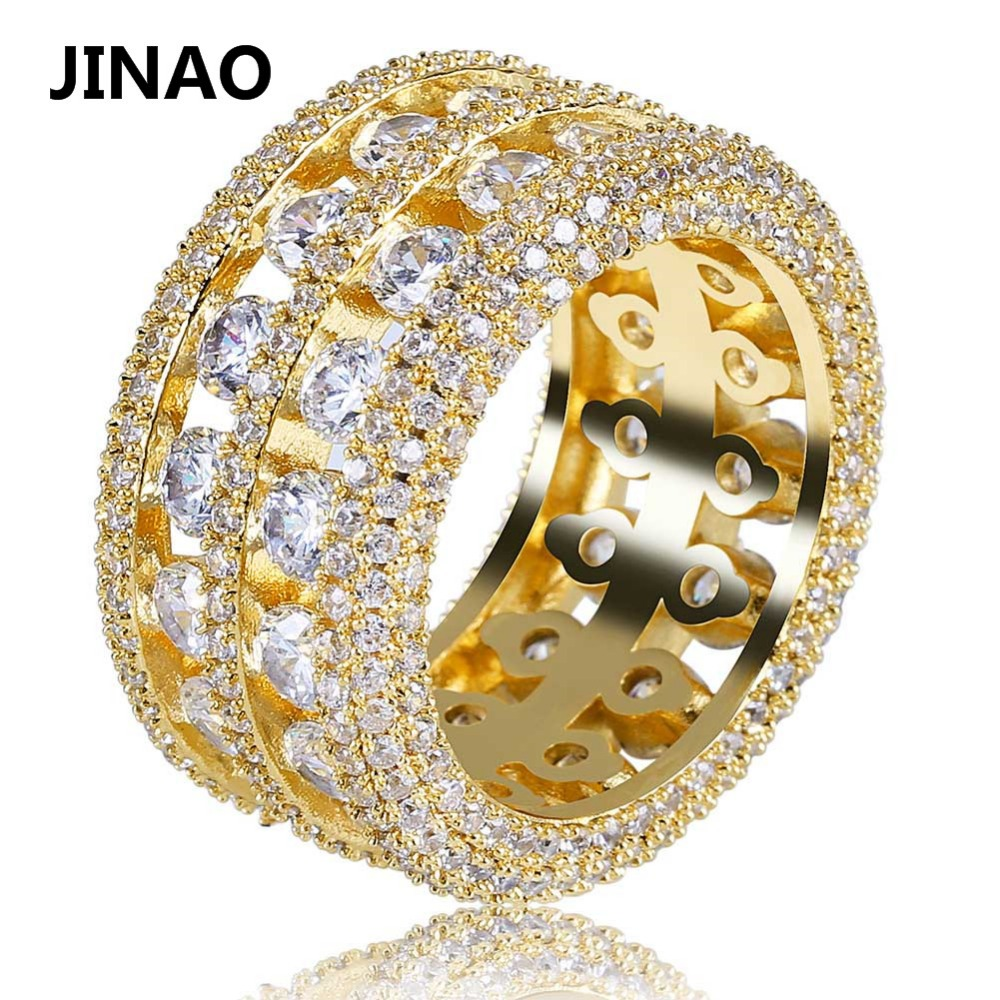 JINAO Hip Hop Men 2 Row Ring Gold Silver Color Plated Iced Out Micro Pave CZ Stone Ring for Men Women Bling Party Jewelry punk style pure color hollow out ring for women
