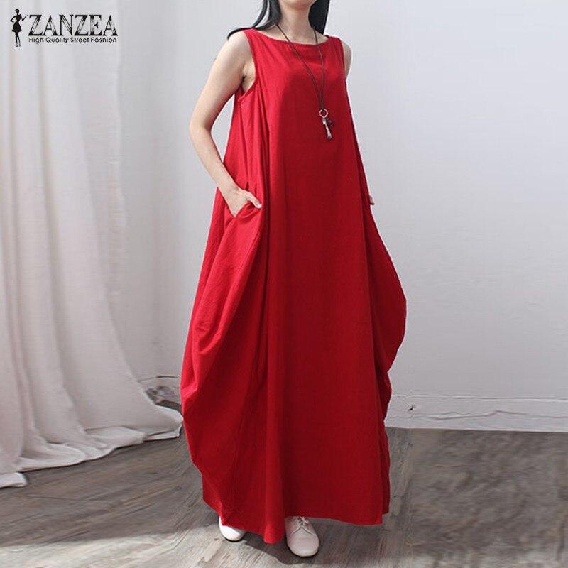 2017 sommer ZANZEA Frauen Retro Elegante Solide Sleeveless ...