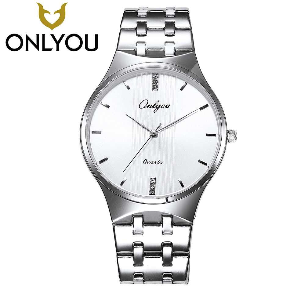 ONLYOU Woman Watches 2017 Brand Luxury Men Fashion Stainless Steel Watches Lovers Business Quartz Wristwatches Gift Wholesale onlyou brand luxury fashion watches women men quartz watch high quality stainless steel wristwatches ladies dress watch 8892