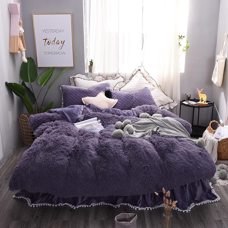 Épaisse Toison Chaud ensemble de Literie Violet Beige Rose Gris Roi Reine taille double Lit feuille/jupe ensemble Housse de Couette pour Filles Taie D'oreiller