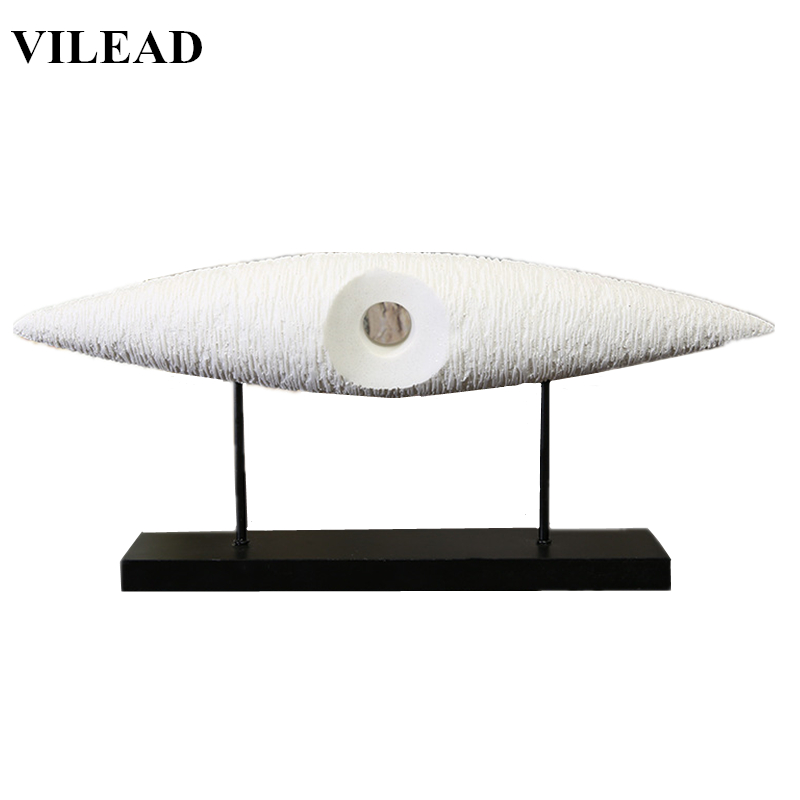 VILEAD 26Inch Abstract Big Eyes Figurines Miniatures White Sandstone Eyes Statuettes Vintage Home Decor Creative New Year Gift in Figurines Miniatures from Home Garden