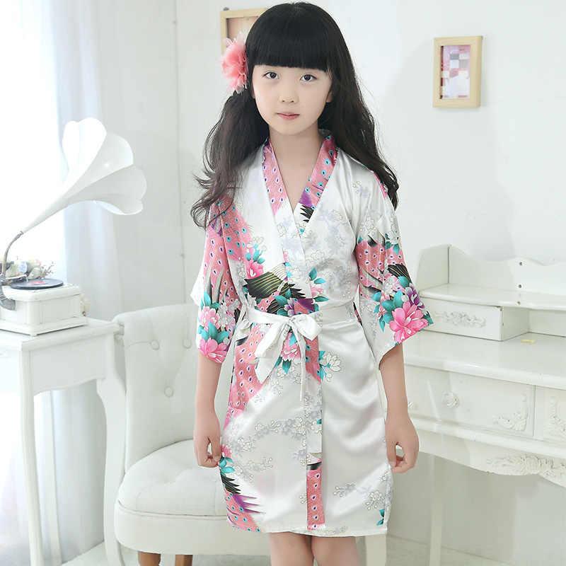 NEW flower cô gái áo phù dâu màu trắng con công trẻ em stain lụa áo choàng áo choàng bé áo ngủ Kimono áo choàng tắm mùa hè cô gái ăn mặc quần áo ngủ