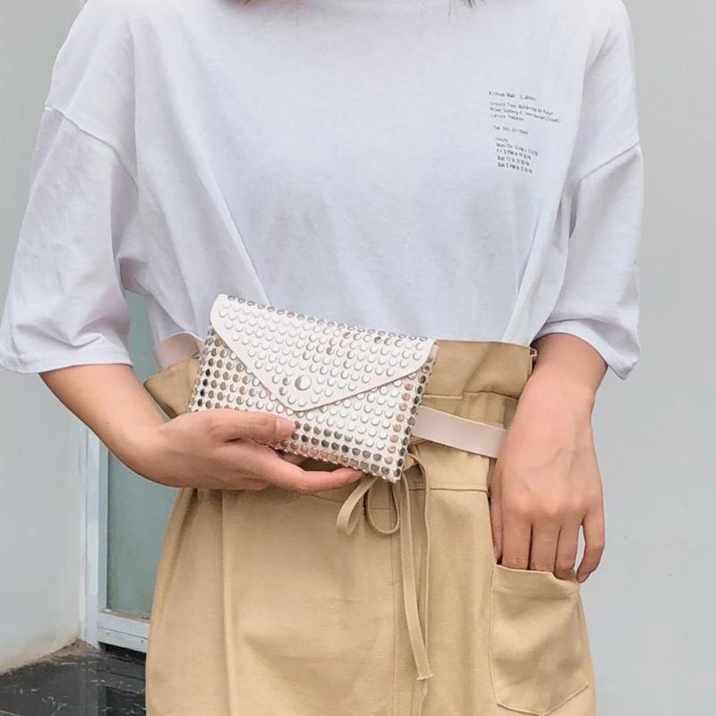 Fanny Pack Women Belt Bag Leather Waist Bag Fashion Rivet Hollow Flip Shoulder Clutch Women Waist Pack Chest Crossbody Bag
