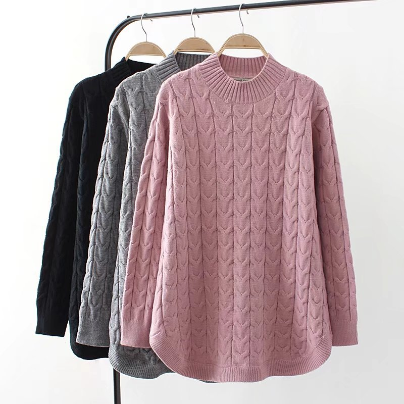Plus size 4XL Knit Sweater for Women 2018 New Autumn Winter Bottom Sweaters Slim Pullover Half high collar Twisted Warm Top 1986