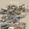 Последние 4 в 1 Британской Армии Legoelied Солдат Второй Мировой Войны Битва пистолет Оружие SWAT Военная Строительный Блок игрушки мальчик ваффен сс для дети