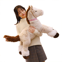 New Arrival 90/120cm Huge Cute Big Brown Horse Plush Soft Toys Stuffed Simulation Animal Doll for Kids Children Birthday Gift