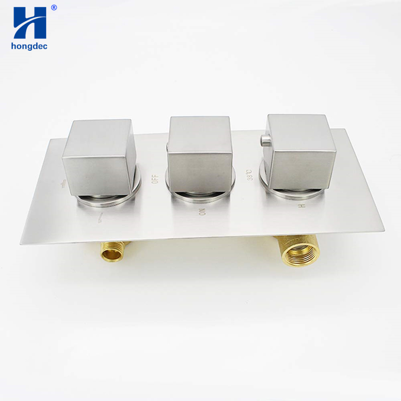 Anti Scald Shower Valve.Us 138 51 10 Off Hongdec Square 3 Handle Anti Scald Brass Thermostatic Shower Mixer Valve Brushed Nickel In Shower Heads From Home Improvement On