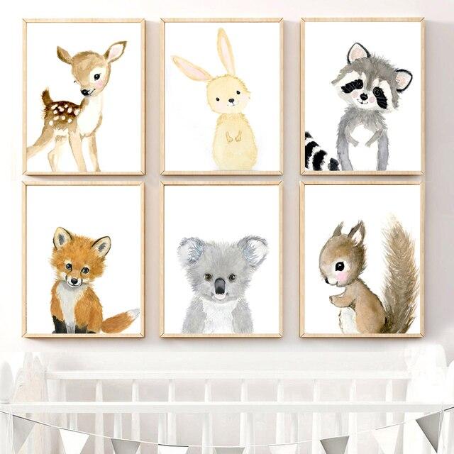 만화 폭스 코알라 사슴 토끼 다람쥐 벽 아트 캔버스 회화 북유럽 포스터와 인쇄 보육 벽 그림 어린이 방 장식