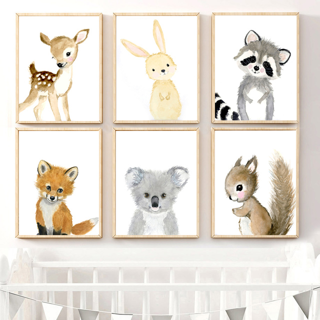Cartoon Fox Koala Deer Rabbit Squirrel Wall Art Canvas Painting Nordic Posters And Prints Nursery Wall Pictures Kids Room Decor