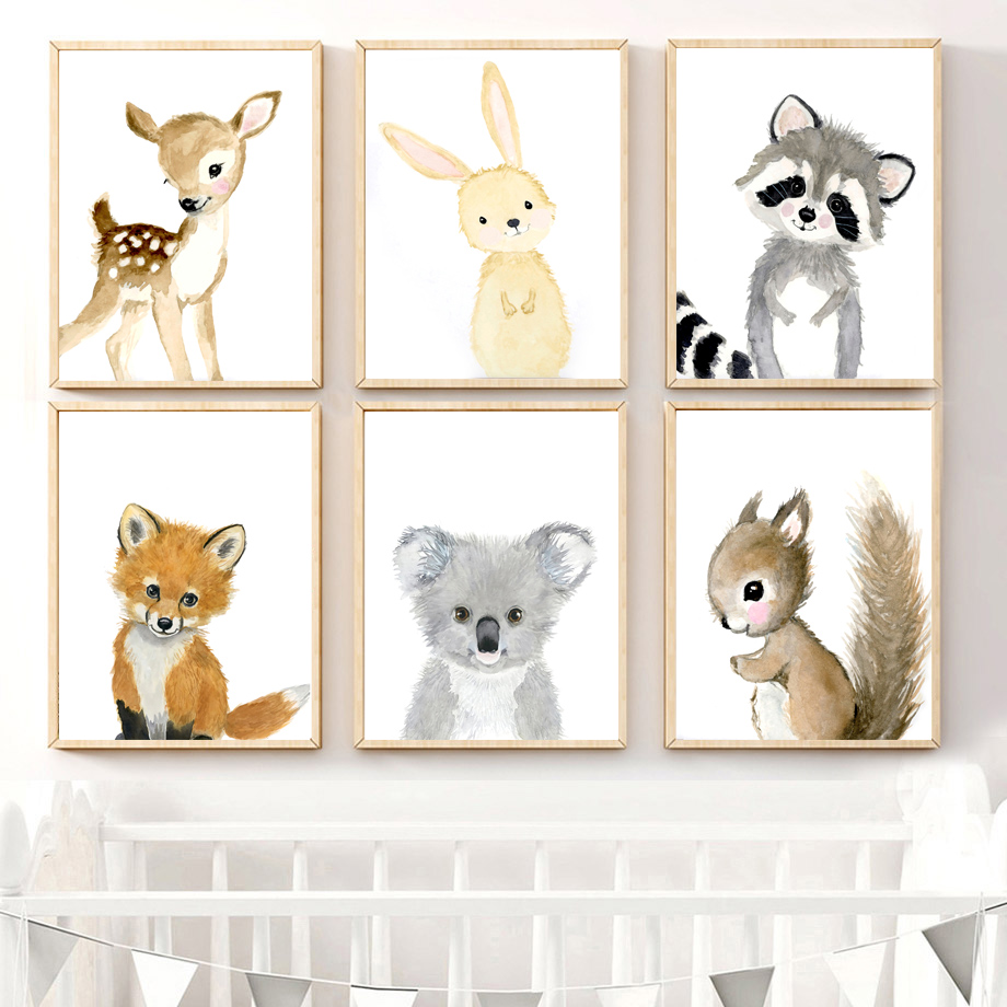 Image 3 - Watercolor Cute Rabbit Raccoon Fox Deer Nursery Wall Art Canvas Painting Nordic Posters And Prints Wall Pictures Kids Room Decor-in Painting & Calligraphy from Home & Garden