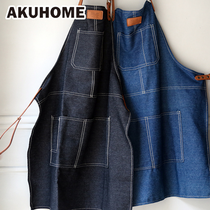 Denim Canvas Apron Sleeveless Waist Couple Home Apron Antifouling Roast Coffee Western Restaurant Men and Women Overalls AKUHOME Aprons     - title=