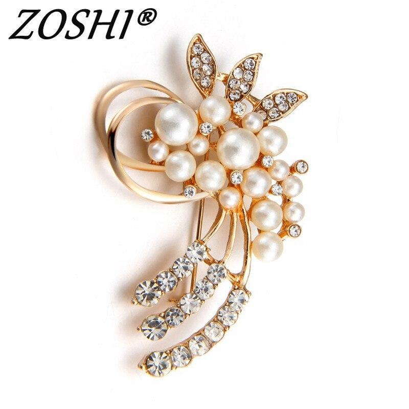Zoshi Модные украшения Высокое качество Винтаж булавки Золотая брошь Австрии кристаллы имитация жемчуга цветок брошь свадебные аксессуары