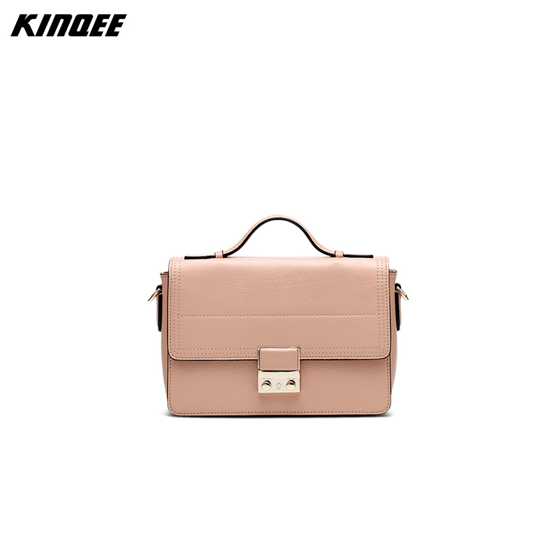 ФОТО KINQEE Brand Cow Leather Messenger Bags Women Hard Genuine Leather Flap Solid Cover Casual Fashion Designer High Quality