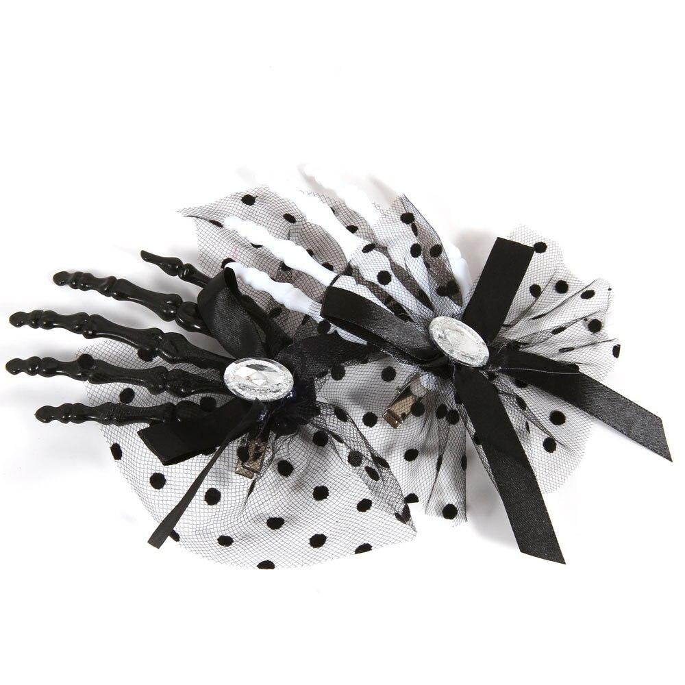 Pinzas para el cabello esqueleto de mano del cráneo de Halloween sexy dot bowtie