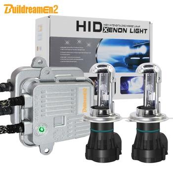 Faro de coche Buildreamen2 55W H4 H4-3 Hi/Lo, Kit completo de luces de xenón de CA, lastre + bombilla + Cable de arnés 4300 K-12000 K 12V de alto brillo