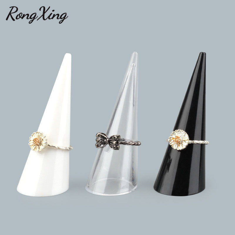 RongXing Transparent/Black/White Acrylic Ring Display Stand Finger Cone Fingertip Jewelry Stand Display Showcase Holder Storage
