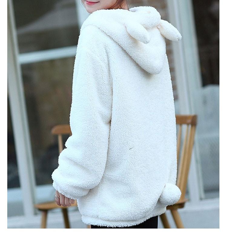 Hot Sprzedaż Kobiety Swetry Zipper Dziewczyna Zima Luźne Puszyste Niedźwiedź Ucha Bluza Z Kapturem Kurtka Warm Odzież Wierzchnia Płaszcz słodkie bluza H1301 3