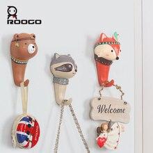 roogo ethnic style cartoon animal hook home decor bedroom bathroom  kitchen storage rack cupboard hanging